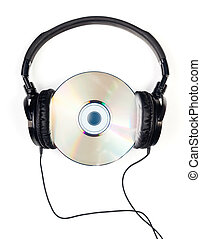 Headphones on CD - Headphones with CD on white background