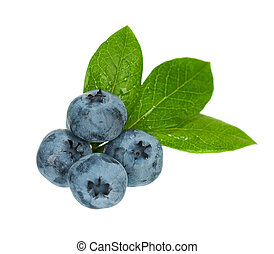 Ripe blueberries - Fresh ripe blueberries with leaves...