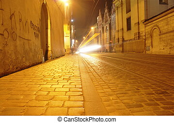 Cracow - Street in old city Crakow at night,Poland.