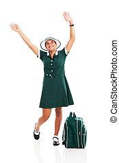 schoolgirl raising her hands and looking up