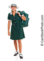 middle school student carrying backpack - happy female...