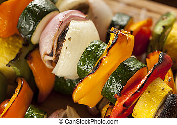 Organic Grilled Vegetable shish Kebab with peppers,...