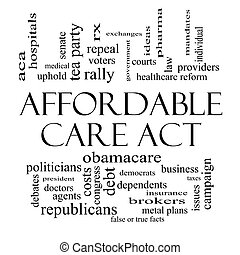 Affordable Care Act Word Cloud Concept in Black and White -...