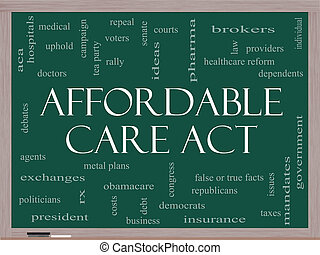 Affordable Care Act Word Cloud Concept on a Blackboard with...