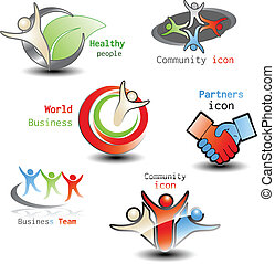 Vector human icons - community, business