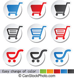 Vector sticker, shopping cart, trolley, item, button -...