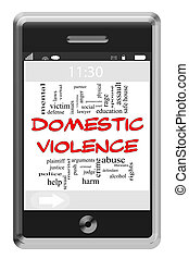 Domestic Violence Word Cloud Concept on Touchscreen Phone