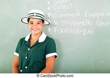 teen high school girl learning French - portrait of teen...