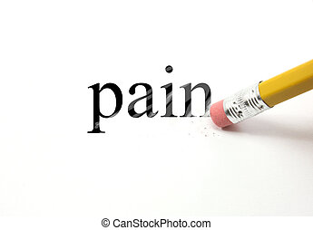 Erasing Pain - The word Pain written on white with the end...