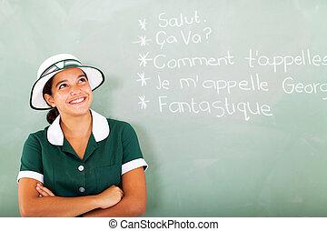 escola, estudante, francês, alto, femininas, aprendizagem