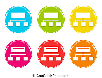 Icons of a organization chart in blue, green, yellow, pink,...