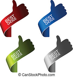 Vector paper best choice elements - hand gesture