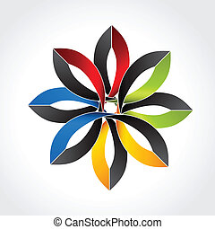 Vector abstract symbol - flower sign or star icon -...