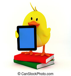 e-book reader - little chick with e-book reader- 3D render