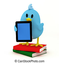 e-book reader - little bird with e-book reader- 3D render