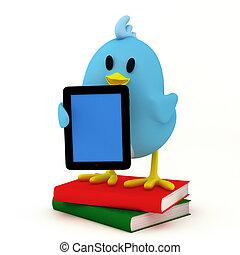 e-book reader - little bird with e-book reader- 3D render