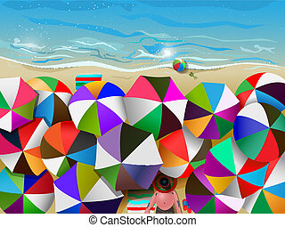 crowded beach - vector illustration of crowded beach full of...