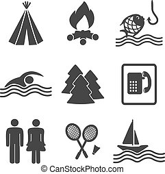 Vector camping icons - set 2 - illustration