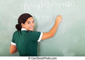 smiling student writing mathematics on the blackboard -...