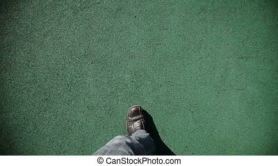 Man Walking on green texture