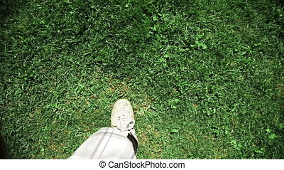 Man Walking on grass