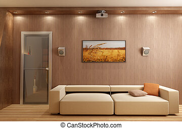 3D render interior - 3d rendering interior with home theatre