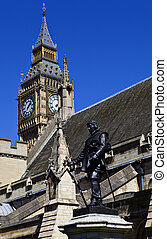 Oliver Cromwell Statue outside the Houses of Parliament -...