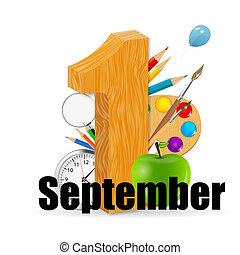 1 september date vector illustration
