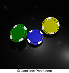 Poker chips with reflection on black background