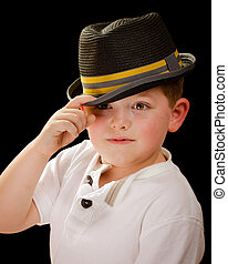 穿, 肖像, 淺頂軟呢帽, 孩子