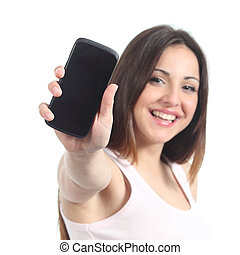 Happy woman showing a black mobile phone screen isolated on...