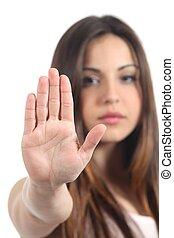 mujer, Elaboración, parada, gesto, ella, mano