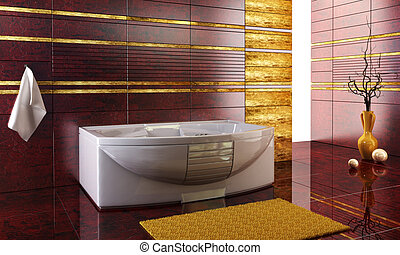 staggered tiled design of the bathroom - 3d rendering of the...