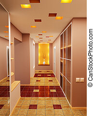 apartment\\\'s hall - 3d rendering the interior of the...
