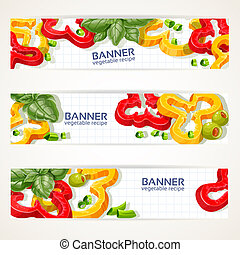 Vector banners with sweet peppers - Vector horizontal...
