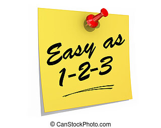 Easy As 123 White Background - A note pinned to a white...