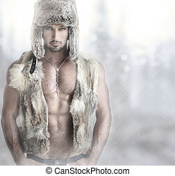 Fashion male - Fashion portrait of a beautiful male model in...