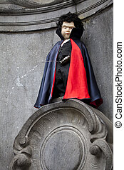 Manneken Pis Dressed as a Vampire, Brussels - The famous...