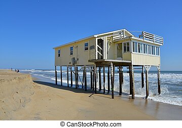 Aftermath of Hurricane Irene - Washed out beachfront house