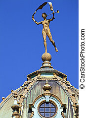 Sculpture on a Guildhall in Grand Place, Brussels