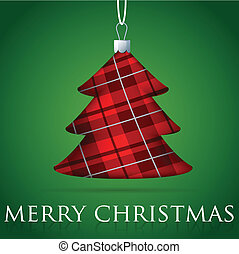 Merry Christmas - Tartan Christmas tree bauble card in...