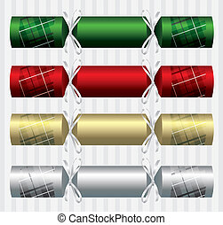 Merry Christmas - PlaidTartan Christmas crackers in vector...