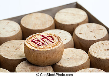 Chinese chess - Group of wooden Chinese chess against white...