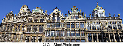 Panorama of the impressive Guildhalls in Grand Place,...