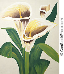 Calla Lilies Painting - A painting of calla lilies on a...