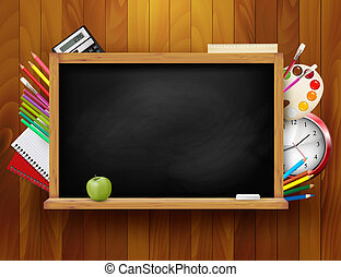 Blackboard with school supplies on wooden background. Vector...