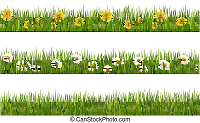 Three nature backgrounds of green grass with dandelions and...