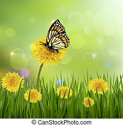 Green summer background with dandelions and a butterfly. Vector.