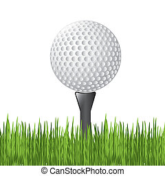 Golf ball over white background vector illustration