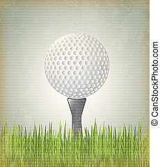 Golf ball over vintage background vector illustration